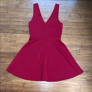Low back low chest red mini dress